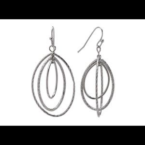Napier Silver Tone Oval Hoop Drop Earrings